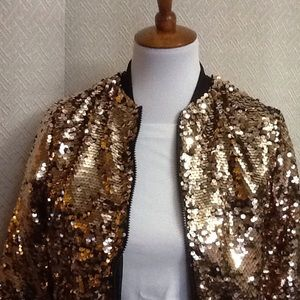 46dc145fd Project Runway Rose Gold Sequin Bomber Jacket NWT